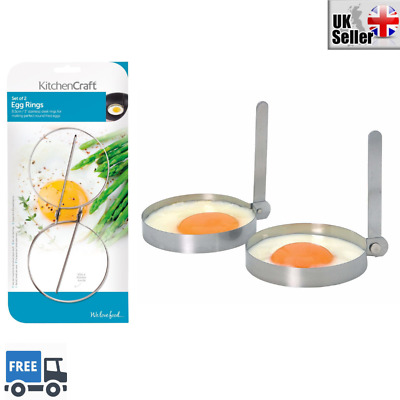 Food Preparation & Tools KitchenCraft Stainless Steel Round Egg Rings Home, Furniture & DIY 8.5 cm Set of 2