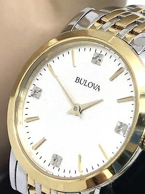 Bulova Diamond Dial Two Tone Stainless Steel Ladies Watch Dress Quartz 98P115