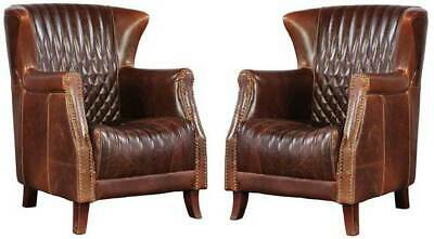 Pair of (2) Vintage Cigar Leather Paris Flea Market Chairs