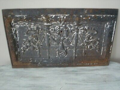 "VINTAGE ARCHITECTURAL SALVAGE CAST IRON PANEL Ornate 11.5"" X 20"" VGC"
