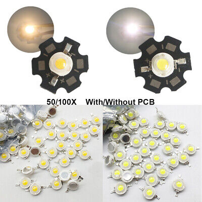 50 100pcs LED COB Chip Light Beads High Power DIY 3W With Star PCB