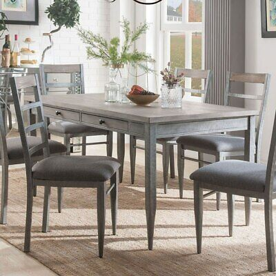 Set of 2 Dining Side Chairs Chair Gray Upholstery Fabric Antique Gray Frame