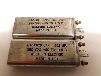 Lot of 2 Vintage WESTERN ELECTRIC GA-50828 .452uF 250VDC -50 to +65C Capacitors