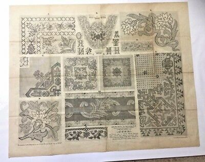 """Antique large Russian embroidery & dress paper pattern/chart 31""""x25"""" 1886 [p1]"""