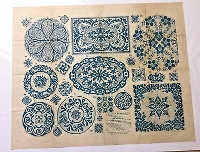 "Antique large Russian embroidery & dress paper pattern/chart 31""x25"" 1886 [p2]"
