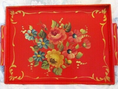 NEAR MINT RED Vintage HandPainted Antique Tole Flowers Wood Display Serving  Tray