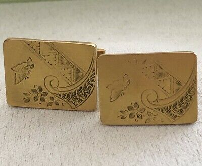Vintage Antique 14k Gold CHINOISERIE Etched Butterfly Cufflinks Chinese Export