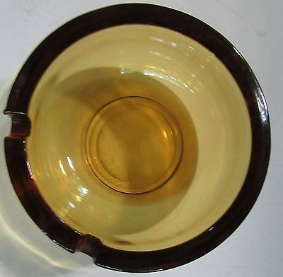 """Vintage Unique 3 5/8"""" Wide Amber Brown Glass Deep Bowl Ashtray - NICE!"""