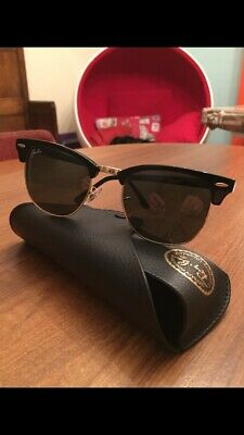 Ray Ban Sunglasses Clubmaster RB3016 W0365 Black Gold Size 51