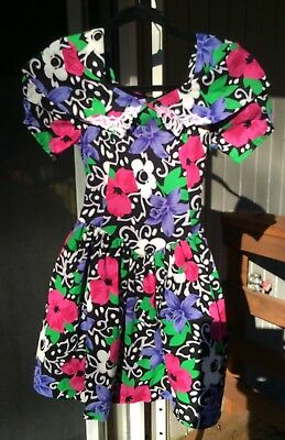 Size 10 Girls Party Dress Bright Floral Vtg 1980s / 1990s