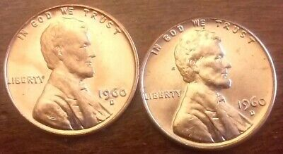 1960D Lincoln Cents--Large+Small Dates B.u.
