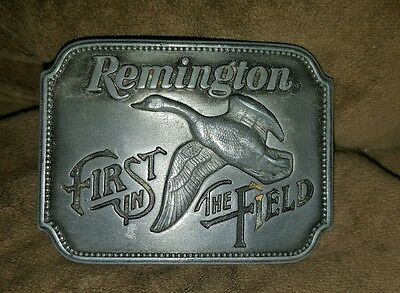 """Remington """"First In The Field"""" Belt Buckle 1980 2.5"""" x 2"""""""