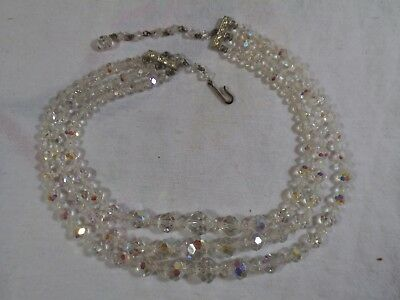 "Vintage Art Deco Faceted Crystal Clear Glass Bead Multi-3-Strand 16"" Necklace-fa"
