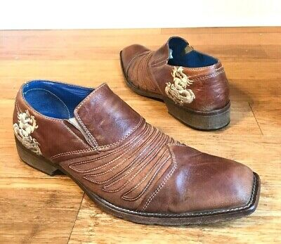 a9713b92dff Mark Nason Rock Lives Mens Brown Leather Slip On Shoes Embossed Dragon Sz 10