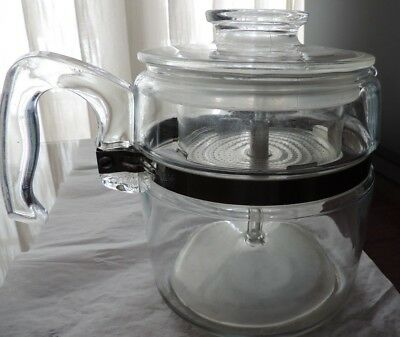Vintage Pyrex Flameware Glass 6 Cup Percolator Coffee Pot 7756-B Complete