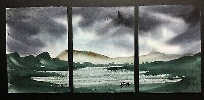 SET of 3 ACEO ATC original art paintings by Bill Lupton - Stormy Day