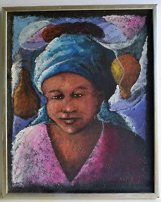 Wesner Pierre Louis (1948) Oil Painting On Canvas Signed Master Haitian Artist
