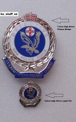 NSW Police Force Detective Silver Lapel Pin & Badge (Not Official)