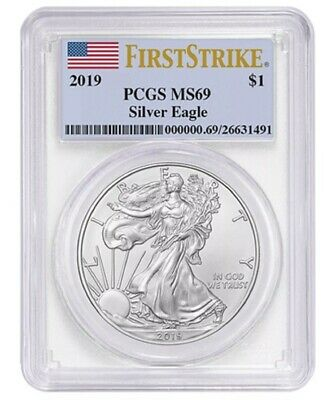 2019 American Silver Eagle - PCGS MS69 - First Strike Coin Flag Label