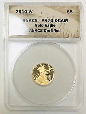 2010 West Point American Gold Eagle Proof 1/10 oz $5 ANACS PR70 Deep Cameo Coin!