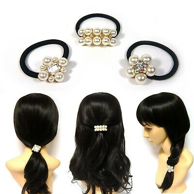 Cream Colored Faux Pearl Beaded Black Elastic Hair Tie Band Ponytail Holder Gift