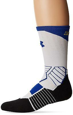 Under Armour Mens Large 9-12.5 White Blue Basketball Curry Crew Socks 1 Pair
