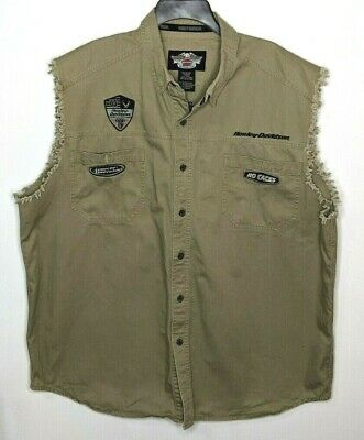 Harley Davidson Men's Sleeveless Shirt Vest Button Up Motorcycle Embroidery 2XL