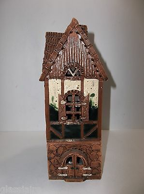 Vintage POLAND Clay Pottery Castle HOUSE FAIRY LAMP Candle Holder GLIMMER LAMP