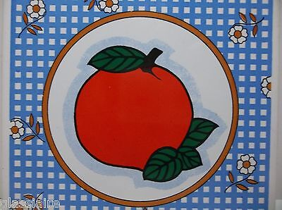 Vintage Decorative Hand Painted Tile BIG RED APPLE 6""