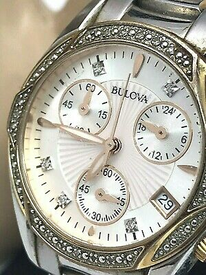 Bulova 98R149 Two Tone Stainless Chronograph Diamond Accent Women's Watch USED