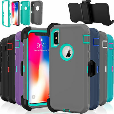 For Apple iPhone XR Case Cover Rugged Shockproof Fits Otterbox Defender Clip