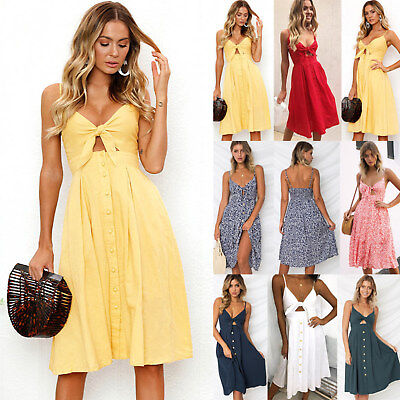 b316ac7a282 US Women Strappy Button Bowknot Lace Up Ladies Summer Beach Midi Swing Sun  Dress