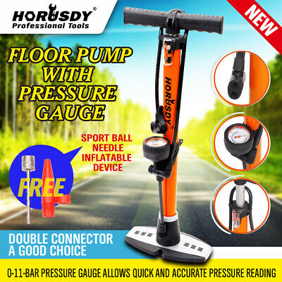 Bicycle Bike Floor Pump with Gauge & Smart Valve Head 160 psi Presta Schrader