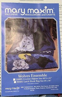 """Mary Maxim Latch Hook Rug Kit Wolves Ensemble 36""""x24"""" Complete 36481 Wolf NEW"""
