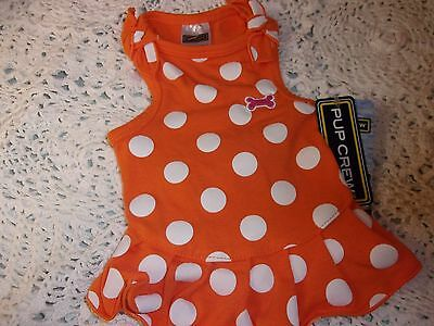 Orange DOT BOW STRAP DRESS Pet Puppy Dog Cat XS new petco Pup Crew XSmall