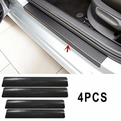 Auto 3D Carbon Fiber Anti Scratch Car Door Sill Scuff Plate Cover Sticker 4 Pcs