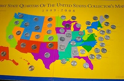 COMPLETE First State Quarters of the United States Collector's Map 1999-2008.