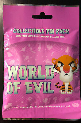Disney Collectible Pin Pack WORLD OF EVIL Mystery Bag of 5 Pins Sealed in Canada