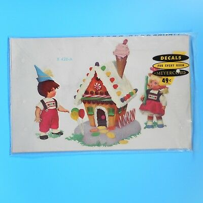 VTG 60s Childrens Meyercord Gingerbread House Decals Lollipop Ice Cream Xmas MCM