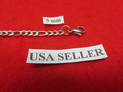 """30"""" Mens,Womens,Boys,Girls,5mm Stainless Steel Silver Figaro Rope Chain Necklace"""