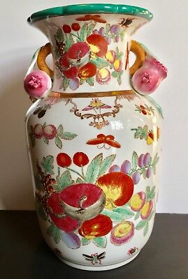 Antique Chinese Vase - Large Late 19th~20th c.  Famille Rose w/ Peach Handles