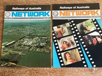 2x Issues of Railways of Australia Network Magazine, July and August 1977
