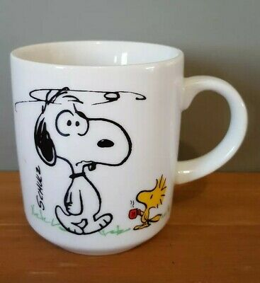 Peanuts Snoopy Coffee Mug Japan I'm Not Worth A Thing Before Coffee Break c 1965