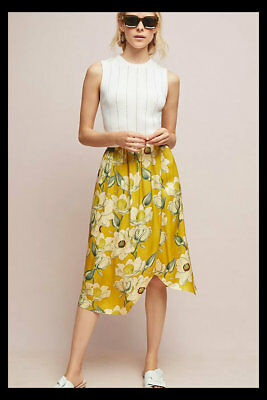 9321454b367d5 NWT Anthropologie Second Female Magnolia Skirt Citron Yellow Floral S  180  RARE!