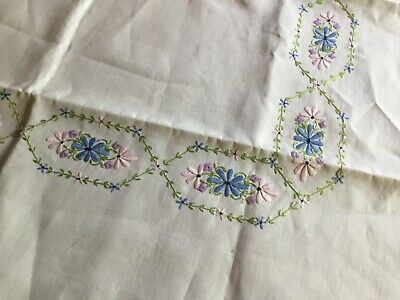 Hand Embroidered/Crochet Edge Vintage Tablecloth Suppercloth