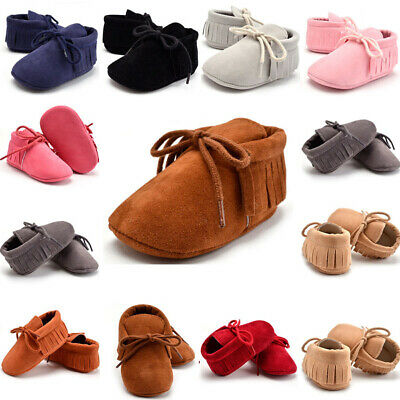 1 Pairs Newborn Infant Baby Boy Girl Soft Sole Prewalker Tassels Cotton Shoes