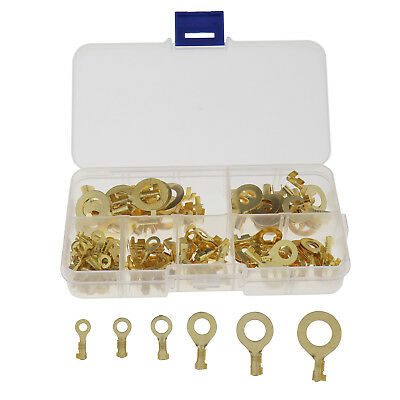 150PCS Brass Ring Cable Lugs Ring Eyes Assortment Case M3 M4 M5 M6 M8 M10