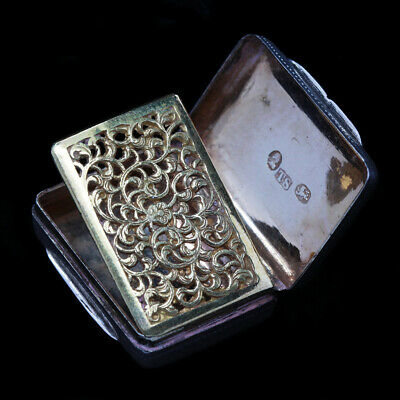 Georgian Vinaigrette Sterling Silver openwork Gilt Birmingham 1826 Antique (4959