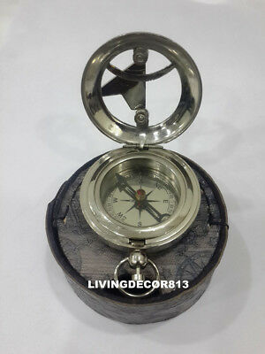 Maritime Handmade Solid Brass Push Botton Compass with Leather Case