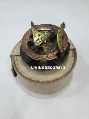 Maritime Handmade Solid Brass Sundial  Compass West London with Leather Case
